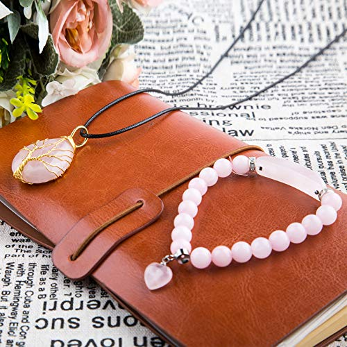 Natural Rose Quartz Healing Crystal Necklace Gold Tree Of Life Wire Wrapped Necklace with Healing Stone Bracelets 8mm Beads Chakra Crystal Energy Heart Charm Bracelet Handmade Jewelry for Women …