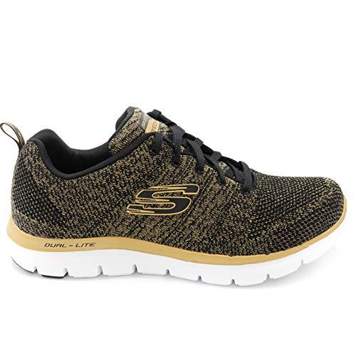 Donna Skechers Flex Black bkgd Sneaker 12771 gold 0 2 Appeal PRAw0nP