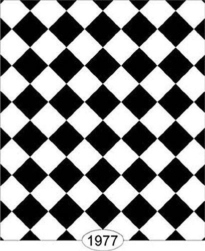 Dollhouse Wallpaper Tile Diamond Black White 25 Inch