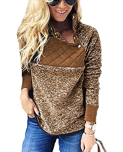 PRETTYGARDEN Women's Warm Long Sleeves Oblique Button Neck Splice Geometric Pattern Fleece Pullover Coat Sweatshirts Outwear (Brown, Medium)