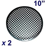 Pair of 10 Inch 10 Universal Metal Car Audio Speaker SubWoofer Waffle Grill Protector Cover With Clips and Screws