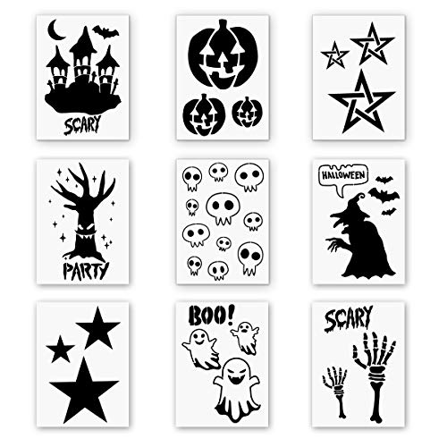 9 Pieces Plastic Halloween Themes Stencils Scale Template Set, Old Castle,Pumpkin,Star,Skeleton,Witch,Bat,Ghost,Art Drawing Painting Spraying DIY Mould Decor(10
