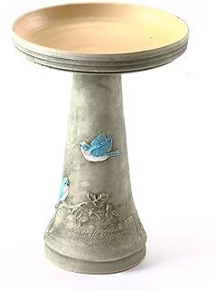 product image for Birds Choice BCBLUEBIRD Burley Clay Hand Painted Bluebird Bird Bath Large Green