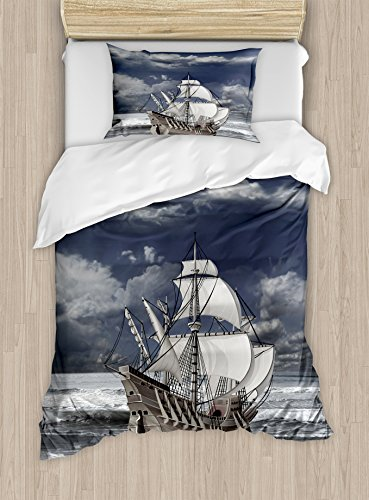 Ambesonne Landscape Duvet Cover Set Twin Size, Cloudy Sky Caribbean Pirates Ship Oil Print Like Art Image, Decorative 2 Piece Bedding Set with 1 Pillow Sham, Blue Grey Pale Grey (Caribbean Pillowcase Art)