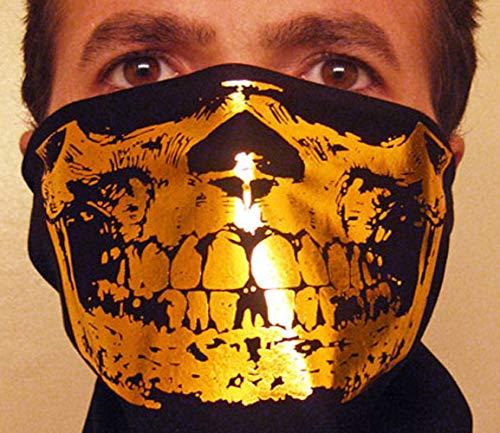 Gansgter Gold Skull on Black Bandana scarf half face mask -