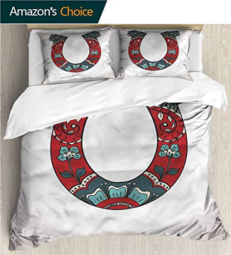 Collection Floral Sketch Print - Home Duvet Cover Set,Box Stitched,Soft,Breathable,Hypoallergenic,Fade Resistant Print Quilt Cover Set White Queen Pattern Bedding Collection-Horseshoe Floral Ornamental Sketch (87
