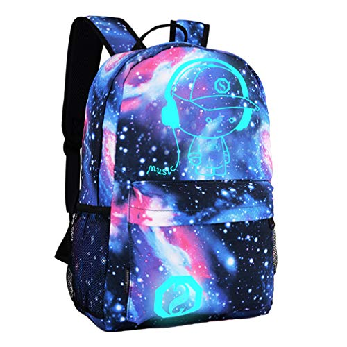 DOLIROX Anime Luminous Backpack Cool Fashion Boys Girls Outdoor Backpack Daypack Unisex Shoulder School Backpack Laptop Bag (Star Blue)