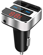 Bluetooth FM Transmitter for Car with AUX Input, Blufree Wireless Bluetooth 4.2 in-Car FM Radio Audio Adapter Hands-Free Calling Car Kit with Dual USB Ports, Support IF Card/USB disk Music Play,Voltage Detect.