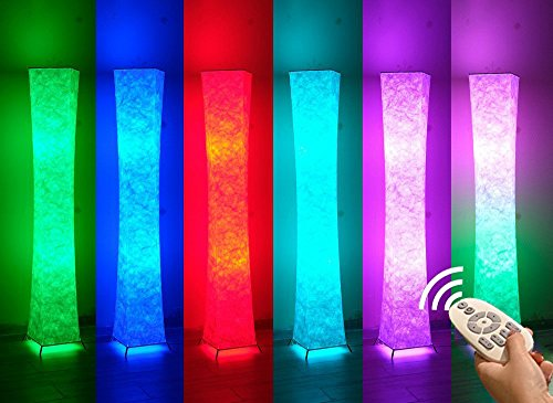"""52/"""" LEONC RGB Color Changing LED Tyvek Fabric Shade Soft Floor Lamps Light Lamp"""