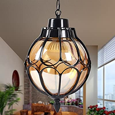Injuicy Vintage Industrial E27 Edison Glass Pendant Lights Lamps Shades Waterproof Outdoor Courtyard Garden Aluminum Ceiling Lights Fixtures Balcony Aisle Corridor Hydrangea (Black & Dia. 7.1 Inch)