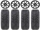 Bundle - 9 Items: STI HD4 14'' Wheels Black 28'' Regulator Tires [4x156 Bolt Pattern 12mmx1.5 Lug Kit]