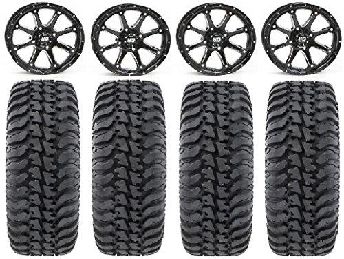 Bundle 9 Items ITP SS316 14 Wheels Black Ops 28 BKT AT 171 Tires 4x110 Bolt Pattern 10mmx1.25 Lug Kit