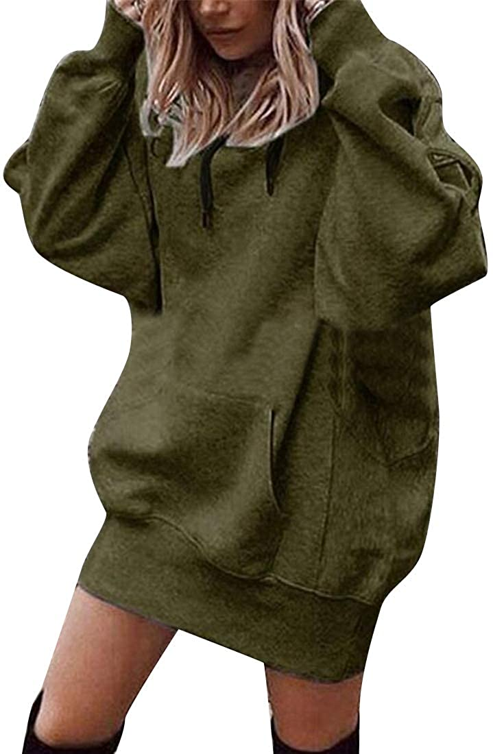 Heless Womens Loose Fit Casual Solid Color Long Sleeve Mid Length Pullover Hoodie Sweatshirt Top