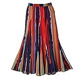 CATALOG CLASSICS Women's Maxi Skirt - Starfire Stripe Georgette Skirt - Elastic Waistband - 1X