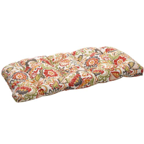- Pillow Perfect Indoor/Outdoor Multicolored Modern Floral Wicker Loveseat Cushion
