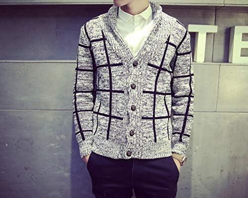 メンズ セーター カーディガン チェック 長袖 ボタン アウター格子柄 おしゃれ カーディガン ショール ニット 春 秋 gray XL