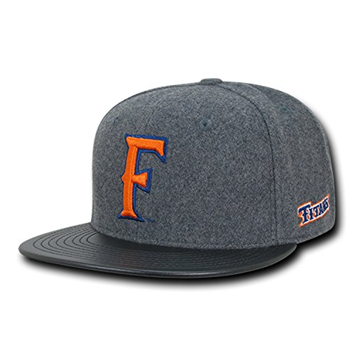 (University of Cal State Fullerton Titans Melton Wool Vinyl NCAA Retro Flat Bill Officially Licensed Snapback Baseball Cap Hat)