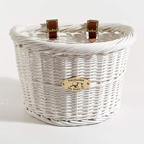Nantucket Bicycle Basket Co. Cruiser Adult D-shape Basket, White