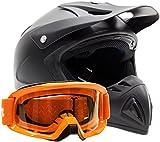 Adult Offroad Helmet & Goggles Gear Combo DOT Motocross ATV Dirt Bike MX Orange Flat Matte Black ( Small )