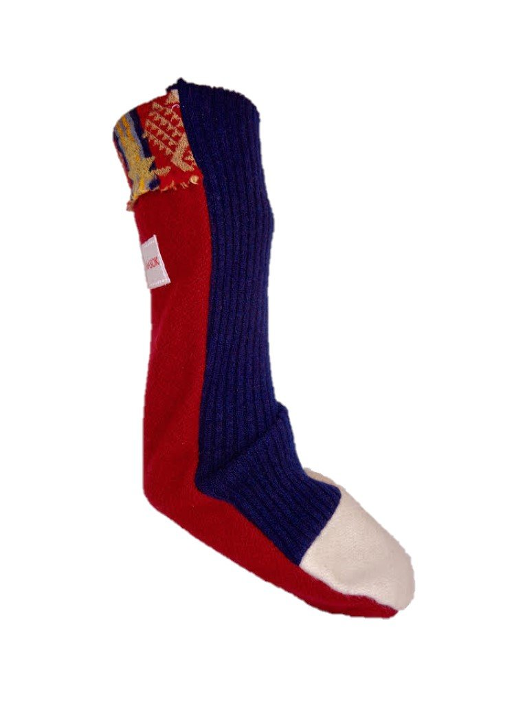Pendleton Blanket Lambswool Lounging Bed Socks No Elastic RN Designed Diabetes Neuropathy (Red White & Blue, Medium)