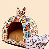 KAKA(TM) Pets Cute Warm Soft Canvas Fold Bed Dogs Cats Sleeping House Owl Pattern Thick Mat Plus Blanket M