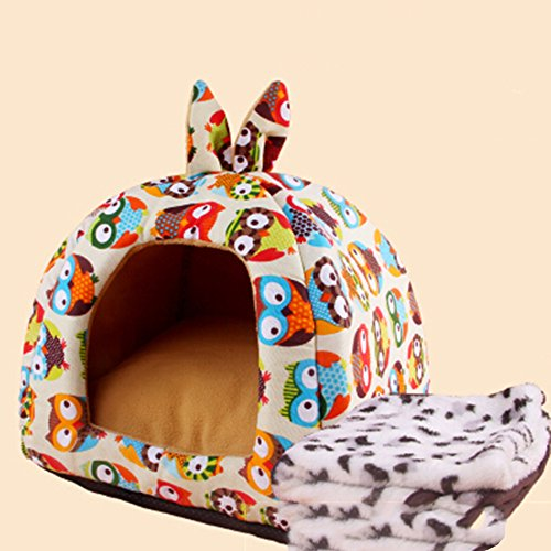 KAKA(TM) Pets Cute Warm Soft Canvas Fold Bed Dogs Cats Sleeping House Owl Pattern Thick Mat Plus Blanket L
