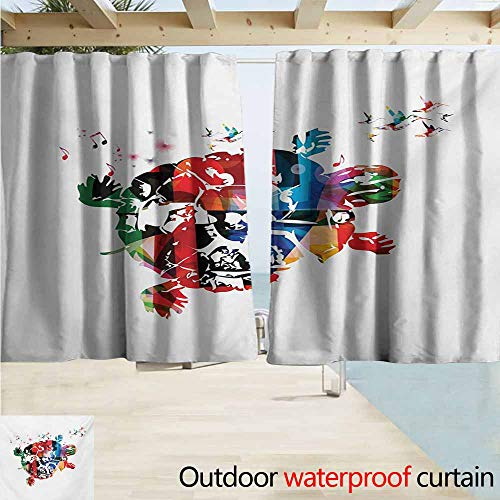 Zmcongz Colorful Outdoor Curtains Abstract Turtle with Hummingbirds and Musical Notes Fantastic Digital Illustration Perfect for Your Patio, Porch, Gazebo, or Pergola W63 xL45 Multicolor