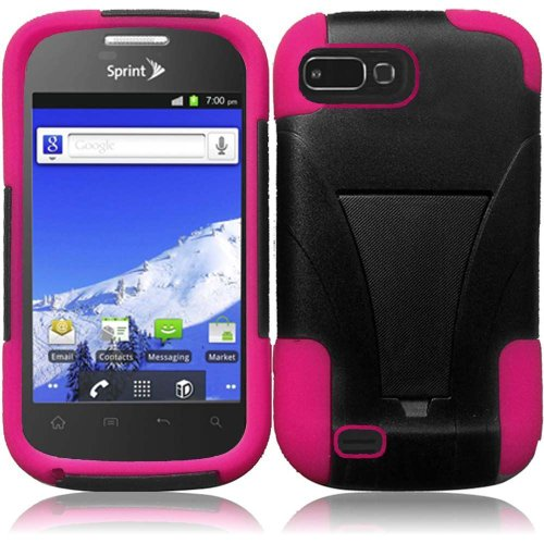 (Dual Layer Plastic Silicone Black On Hot Pink Hard Cover Snap On Case W/ Y Kickstand For ZTE Valet Z665C W/ Free Screen Protector (StopAndAccessorize))