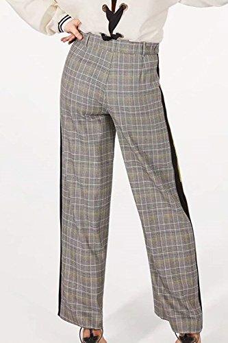 Alta Grigio Vita Forcella Stoffa Larghi Donna Lunga A Primaverile Pantaloni Aperto Dritti Eleganti Button Costume Reticolo Femminile Baggy Trousers Di Autunno 1BqRg5R