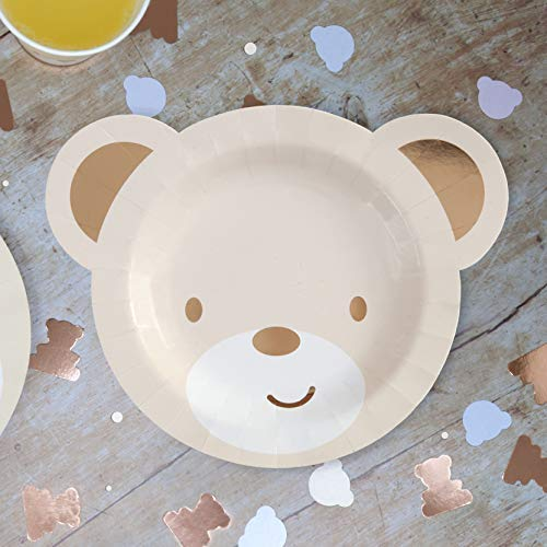 Hatton Gate Teddy Bear Shaped Paper Party Plates 8 Plates per Pack]()