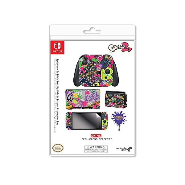 "Controller Gear Nintendo Switch Skin & Screen Protector Set, Officially Licensed By Nintendo - Splatoon 2 ""Stick Em' Up"" - Nintendo Switch 8"