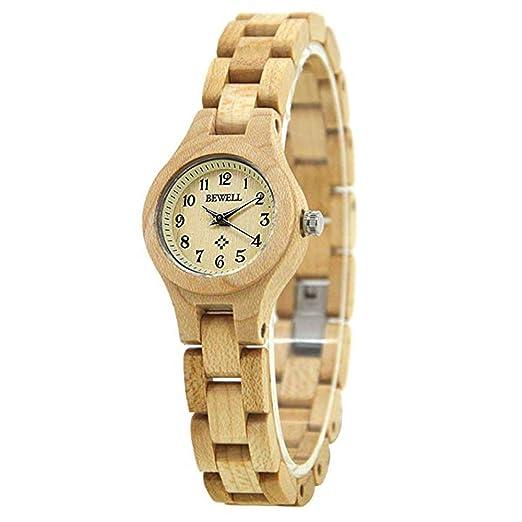 Reloj de Madera para Hombres y Mujeres, Relojes Hechos a Mano de Madera Natural para