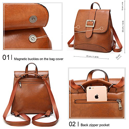 SiMYEER Women's Leather Backpack Purse Top Tote Bags Handbags Shoulder Bag School Casual Daypack for Girls by SiMYEER (Image #6)