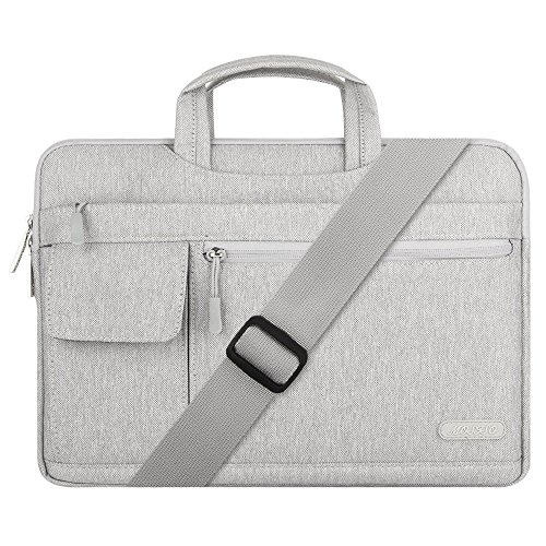 Mosiso Polyester Flapover Laptop Messenger Shoulder Bag Case Cover Briefcase for 15-15.6 Inch 2017/2016 MacBook Pro with Touch Bar, MacBook Pro, Notebook, Compatible with 14 Inch Ultrabook, Gray