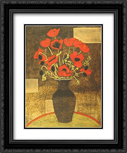 Oriental Poppies 2X Matted 18x15 Black Ornate Framed Art Print by Beverly Jean
