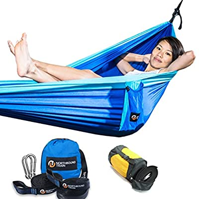 Camping Hammock with Tree Straps, Best Portable Parachute Hammocks for Hiking, Beach Fun, or Backyard Relaxation from Northbound Train
