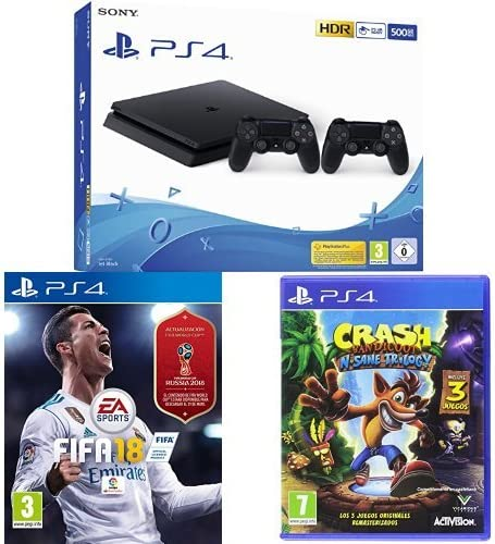 Playstation 4 (PS4) - Consola 500 Gb + 2 Mandos Dual Shock 4 (Edición Exclusiva Amazon) + FIFA 18 + Crash Bandicoot N.Sane Trilogy - PlayStation 4: Amazon.es: Videojuegos
