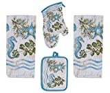 4 Piece Ocean Tide Kitchen Bundle / Set - 2 Terry Towels, Oven Mitt, Potholder