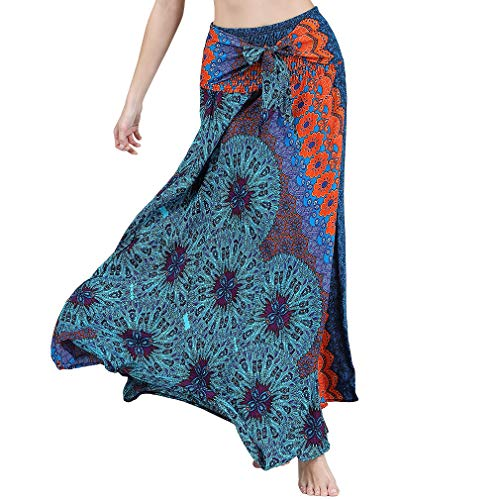 (Csbks Women's 2 in 1 Bohemian Breezy Asymmetric Beach Long Skirts Casual Halter or Strapless Dress Flowers Orange)