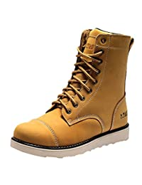 Insun Men's Leather Mid Lace Up Work Boots