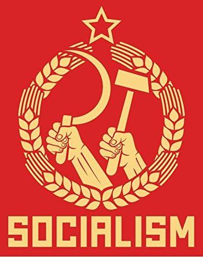 "Socialism USSR Soviet Union Political Slogan Car Bumper Sticker Decal 4/"" x 5/"""