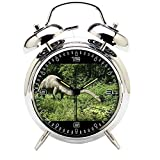 Children's Room Silver Dinosaur Silent Alarm Clock Twin Bell Mute Alarm Clock Quartz Analog Retro Bedside and Desk Clock with Nightlight-359.460_Dinos, Langhals, Animal, Dinosaur, Herbivores