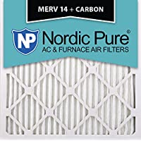 Nordic Pure 10x10x1M14+C-2 MERV 14 Plus Carbon AC Furnace Filter 10x10x1 Merv 14 Plus Carbon AC Furnace Filters Qty 2
