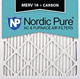 Nordic Pure 20x20x1M14+C-2 MERV 14 Plus Carbon AC Furnace Filter 20x20x1 Merv 14 Plus Carbon AC Furnace Filters Qty 2
