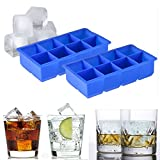 Beety 8 Cavity Jumbo Huge Cubes Silicone Ice Cube Tray Mold, Set of 2 - Keeps Drinks Cold For Hours - Lifetime Guarantee