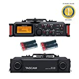 Tascam DR-70D Liner PCM Recorder for DLSR with 4 Free Universal Electronics AA Batteries and 1 Year Free Extended Warranty