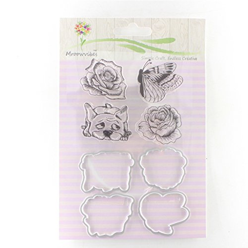 Richi Cute Clear Stamp + Metal Cutting Dies Stencil Frame Scrapbook Album Decor (#10) Frames Clear Stamp Set