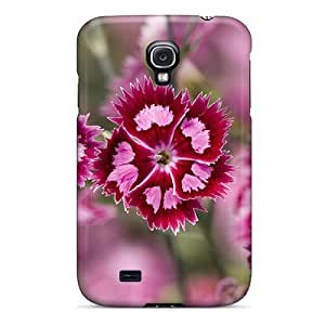 Premium Pink Purple Flowers Back Cover Snap On Case For Galaxy S4