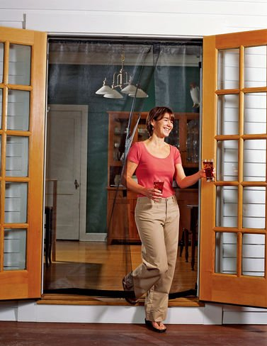 Bug Off 60R by 80 Instant Screen - Reversible Fits French Doors and Sliding Glass Doors (60x60 Screen)
