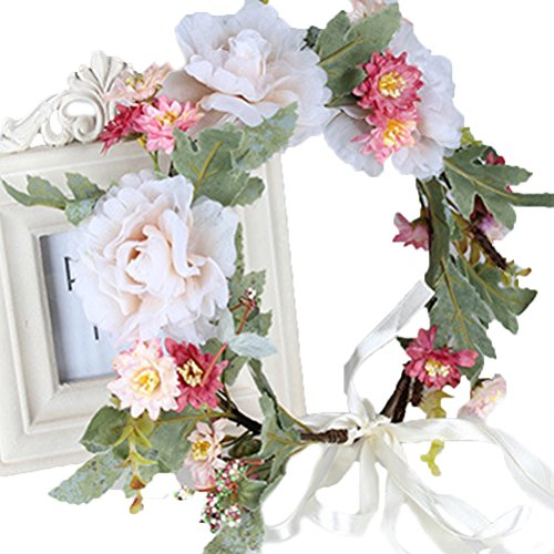Vivivalue Flower Wreath Headband Crown Floral Garland with Ribbon Boho for Festival Wedding Beige